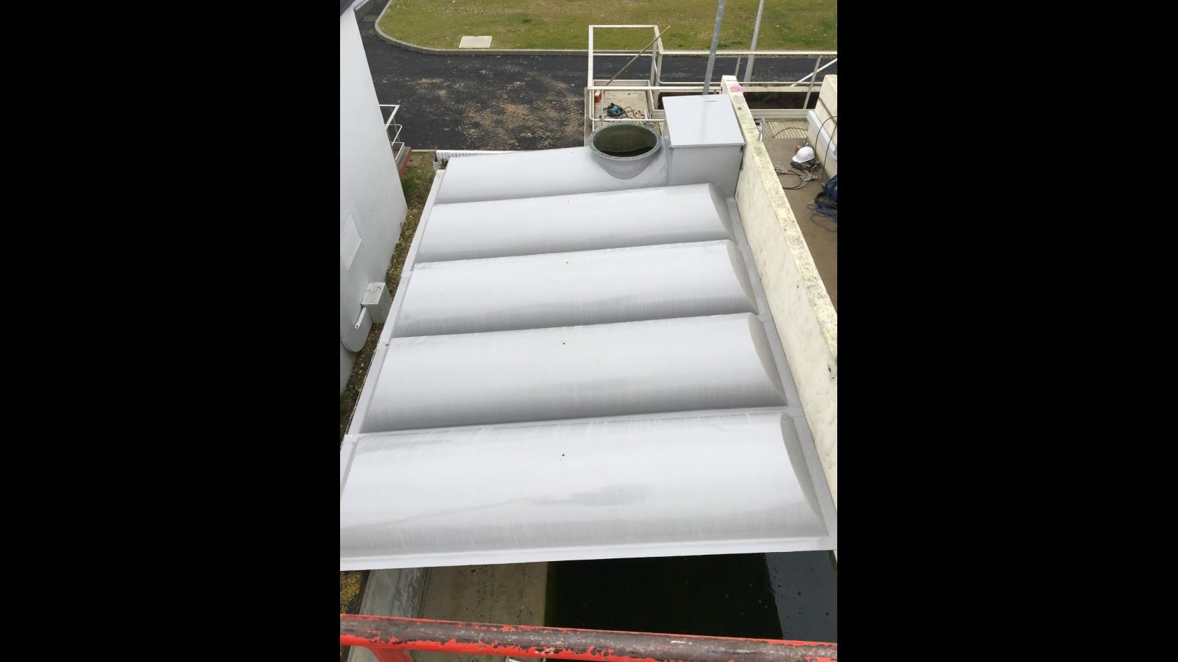 Couverture d'ouvrage bassin tampon station epuration